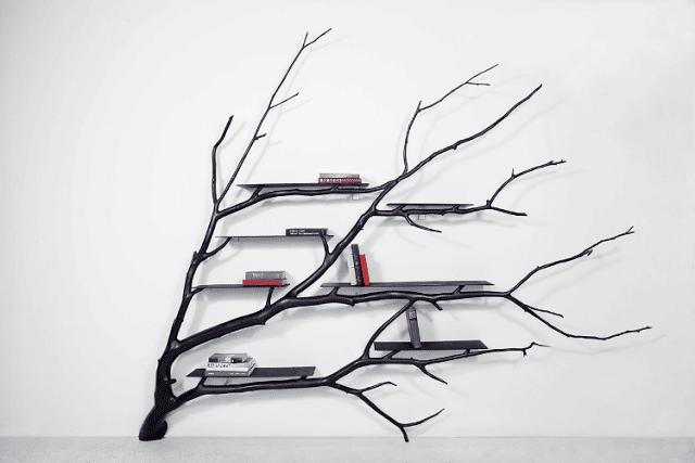 όμορφη ραφιέρα από κλαδί δέντρου