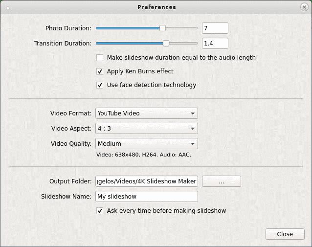 ρυθμίσεις slideshow maker